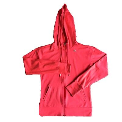 Womens Adidas Climalite Hoodie Jacket Size XS Pink Zip Up Hooded