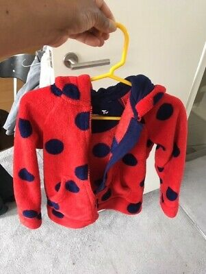 TU by Sainsburys red & blue spotted furry hoodie -2-3 years