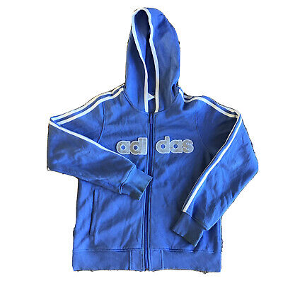 Womens Adidas Hoodie Jacket Sz 10 Blue Large Logo Long Sleeve Hooded Zip Up