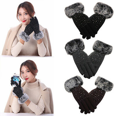 Thicken Warm Cashmere Gloves Touch Screen Mittens Shiny Faux Fur Gloves