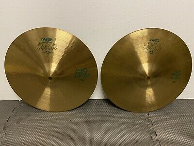 """Vintage Paiste 505 Green Label Hi Hat Cymbals 14""""(Pair) Cymbal Drum / Accessory"""