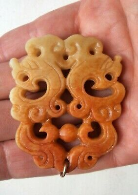 Fine Chinese Republic / Vintage Jade Carved Pendant Of Two Dragons