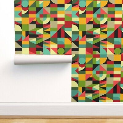Wallpaper Roll Shapes Geometric Memphis Style Memphis Bauhaus 80S 24in x 27ft