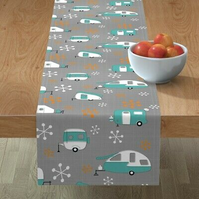 Table Runner Blue + Orange Campers Retro Camper Camping Trailer Cotton Sateen