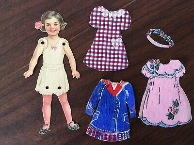 Antique Dennison Jointed Arms and Legs Paper Doll w/ 3 Crepe Paper Dresses