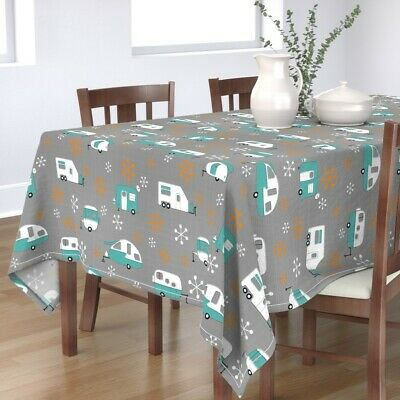 Tablecloth Blue + Orange Campers Retro Camper Camping Trailer Park Cotton Sateen