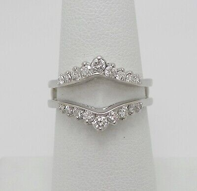 1/2CT Diamond Solitaire Enhancer Guard Wrap Insert Ring Band 14K White Gold