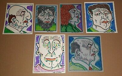 WALT Mad Vlad EVANS Lot of 6 Original SIGNED Outsider Folk Brut Raw Art Drawings
