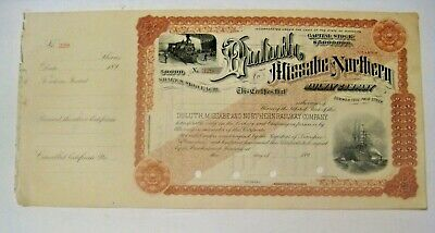 Rare 189_ Duluth Missabe & Northern Railway Railroad Minnesota Stock Certificate
