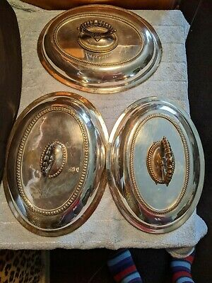 Set of 3 Elliptical Silver Plated Tureens