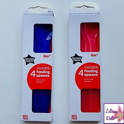 Baby Feeding Spoons Tommee Tippee Long Weaning Spoon 4 Packs 6m+ Blue Pink