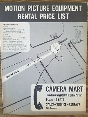 Motion Picture Equipment Rental Price List Camera Mart New York c1950s Vintage