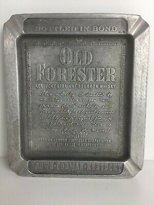 Old Forester Metal Ashtray Brown Forman Kentucky Rare! Vintage!