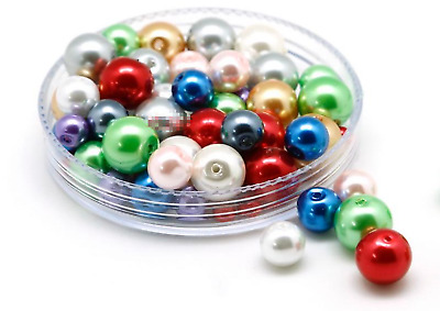 200 pcs x 8mm Round Glass Pearl Beads Pearl Beads for Jewellery Making Crafts