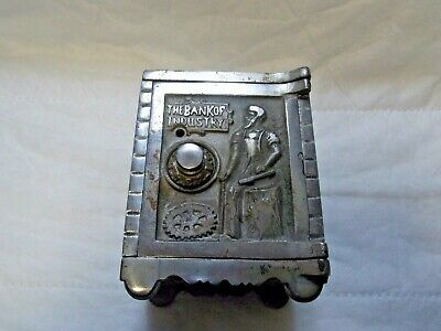 """Nickel Plated Cast Iron Combination Safe  Bank """"Bank of Industry"""" Kenton Brand"""