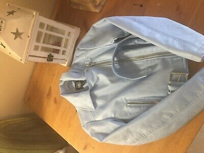 Girls 9-10 years new look faux leather jacket blue never worn .