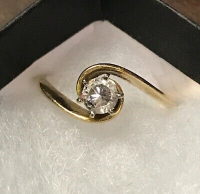 Engagement Or Wedding Swirl Yellow Gold Ring With Approximately 1/4 Carat