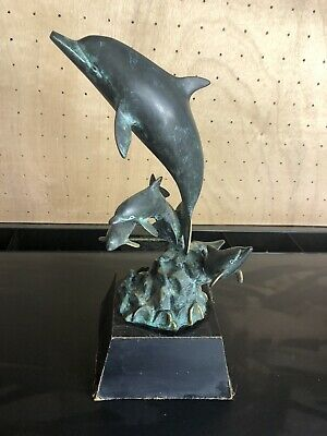 Bronze SPI Dolphin Statue Four Dolphins  Swimming Ocean Vintage Sculpture animal