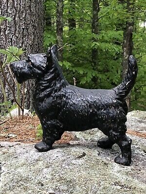 Antique Heavy Cast Iron Metal BLACK SCOTTISH TERRIER Scottie Dog Door Stop