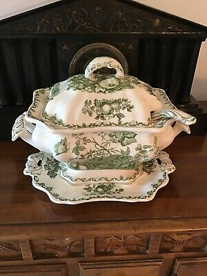 4 Piece Antique MASONS Fruit Basket Platter, Tureen, Lid & Laddle Dark Green
