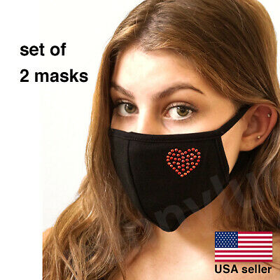 Face Mask Heart Red Soft Black Cotton Love Washable Reusable USA seller