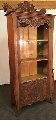 Antique Victorian 1 Dr Carved Quartersawn Oak Bookcase/Cherubs X Tall, Orig Cond