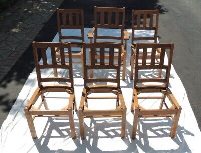 Antique 6Pc. Mission Style Chair Set In Quarter Sawn Oak From Stratford Chair Co