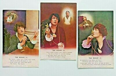 The Rosary: Bamforth Song cards. set of 3 postcards series 4878. Injured soldier