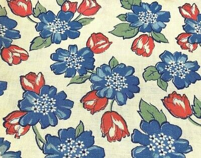 """VTG Feedsack Blue and Red Flowers Off-White Background 40"""" x 45""""  (6 Avail)"""