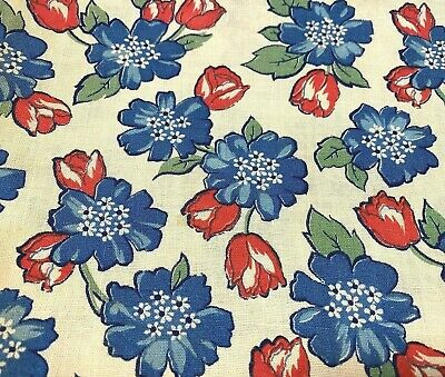 """VTG Feedsack Blue and Red Flowers Off-White Background 26"""" x 36"""""""