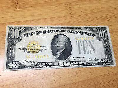1928 Circulated Ten Dollar $10 Gold Certificate