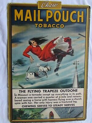 1920-1930's Vintage Chew Mail Pouch Tobacco Litho Cardboard Advertising Display