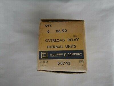NOS Square D B6.90 Overload Relay Thermal Unit Heater - Box of 6