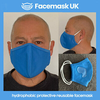 Face Mouth Mask - Protective Hydrophobic Tech. Waterproof 100% Cotton BLUE