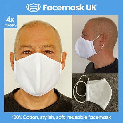 Face Mouth Mask X4 - Protective Hydrophobic Tech. Waterproof 100% Cotton WHITE