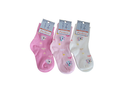 Baby Girls Kids Socks 3 Pack Ankle High Seamless Pink Unicorns Cotton 0-4 Years