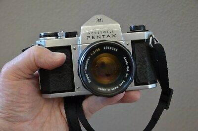 Pntax H1a SLR film camera with 55mm f/2 Super-Takumar lens and case