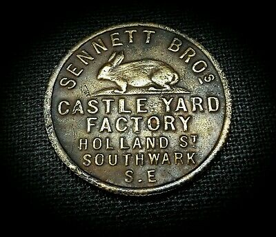 SCARCE SENNETT BRO's MILLED TOKEN  - HATS FURRIERS & SKINS c.a. 19TH CENTURY