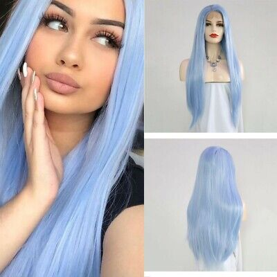 AU 24inch Synthetic fiber Lace front wigs Full Head Light Blue Natural Straight