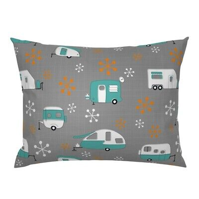 Blue + Orange Campers Retro Camper Camping Trailer Park Pillow Sham by Roostery