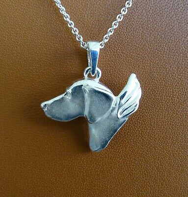 Large Sterling Silver German Shorthaired Pointer Angel Pendant