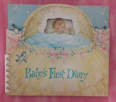 Vintage 1960 Baby Book Keepsake Gift Diary Picture Album Unused