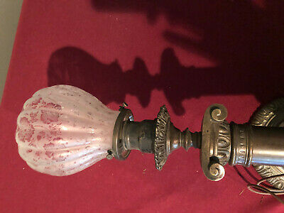 Brass Wall Sconce Ionic Column etched Glass Shade Rewired