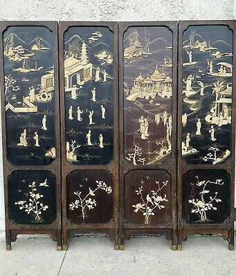 Antique Chinese Four Panels Inlayed Floor Screen