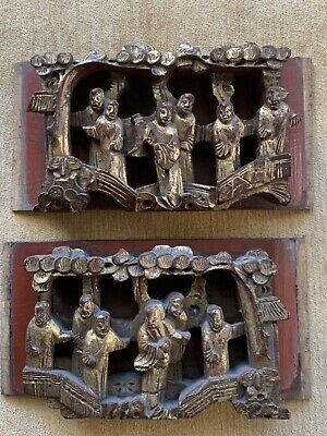 Pair Of Antique Chinese Wood Carved Panels