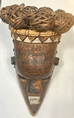 Unique Antique African Wood And Copper Mask