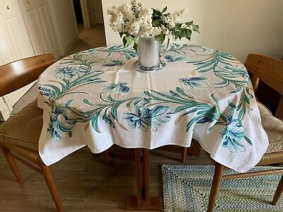 Beautiful Vintage MC Cotton Print Tablecloth Tropical Flowers Aqua Green Gray