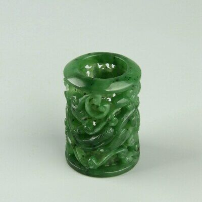 Chinese Exquisite Hand carved Hetian jade Thumb ring 22mm