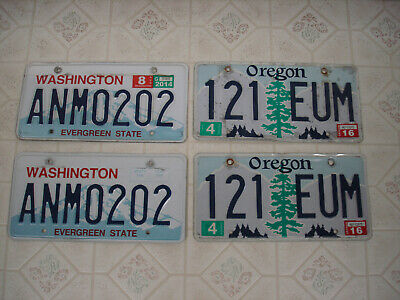 License plate lot of 2 matching sets 4 plates total Oregon & Washington State