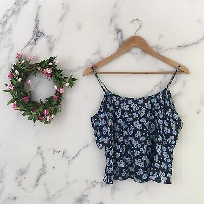 Abercrombie Kids Girls Large Cold Shoulder Blouse Floral Spaghetti Strap Top